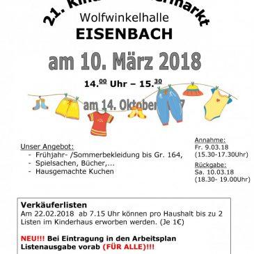 Der 21. Kinderkleidermarkt steht am 10. März.2018 in der Wolfwinkelhalle an. Es lohnt sich.