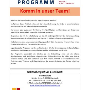 Komm in unser Team – Jugendbegleiter an der der Lichtenbergschule